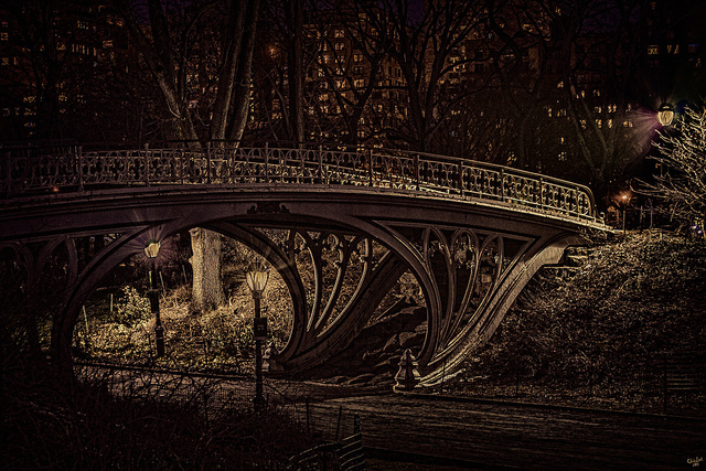 Central Park bridges running at night