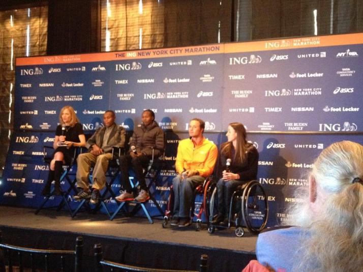 new york city marathon elizabeth maiuolo nyrr  Mary Wittenberg, Geoffrey Mutai, Priscah Jeptoo, Marcel Hug and Tayana McFadden