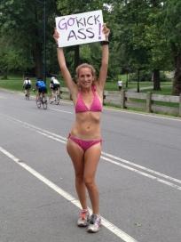 cheering in a bikini