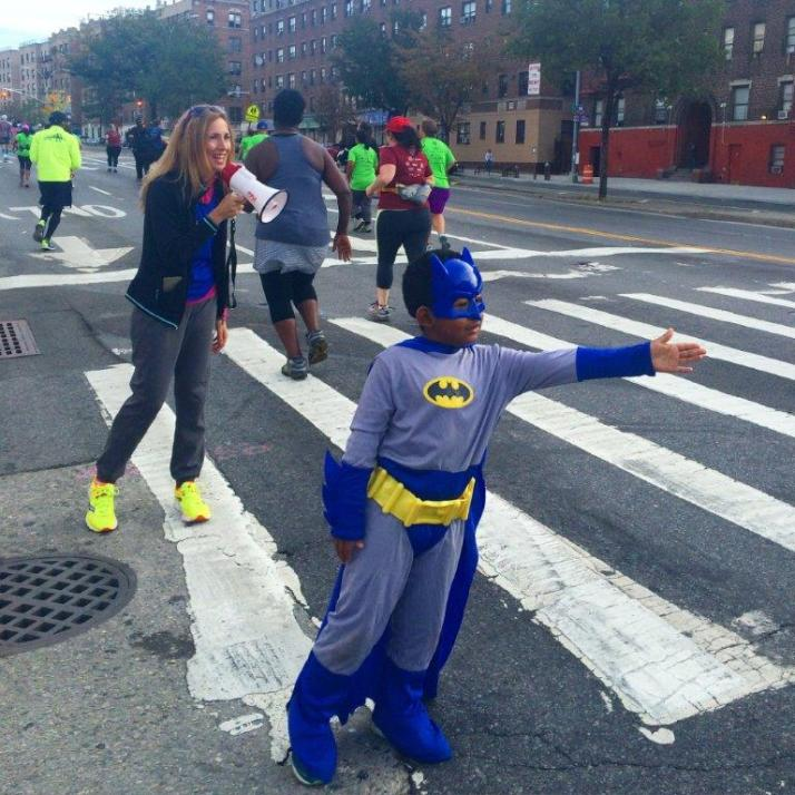 my cheering partner, Batkid. We had this thing where I'd yell: Batman High Five for extra power to the finish and things like that. Everyone got a kick out of it.